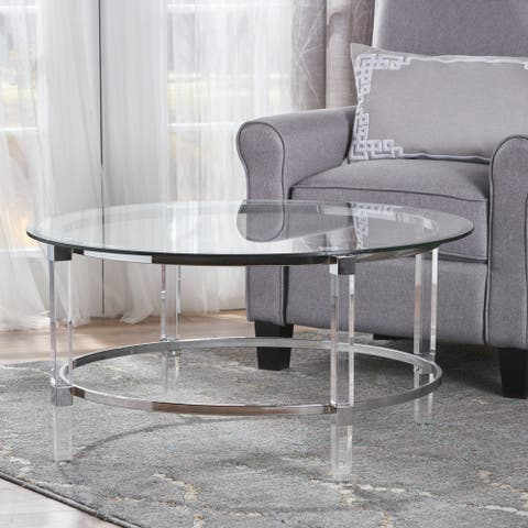 """Elowen Round Glass Coffee Table by Christopher Knight Home - 35.5""""L x 35.5""""W x 18""""H"""