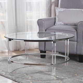 73e5ce326b3e Elowen Round Rectangle Glass Coffee Table by Christopher Knight Home
