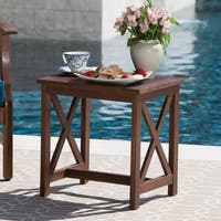 Avoca Outdoor Farmhouse Cottage Square Acacia Wood End Table by Christopher Knight Home