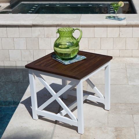Cassara Outdoor Farmhouse Cottage Square Acacia Wood End Table by Christopher Knight Home