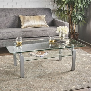 Finbar Modern Rectangle Glass Coffee Table by Christopher Knight Home