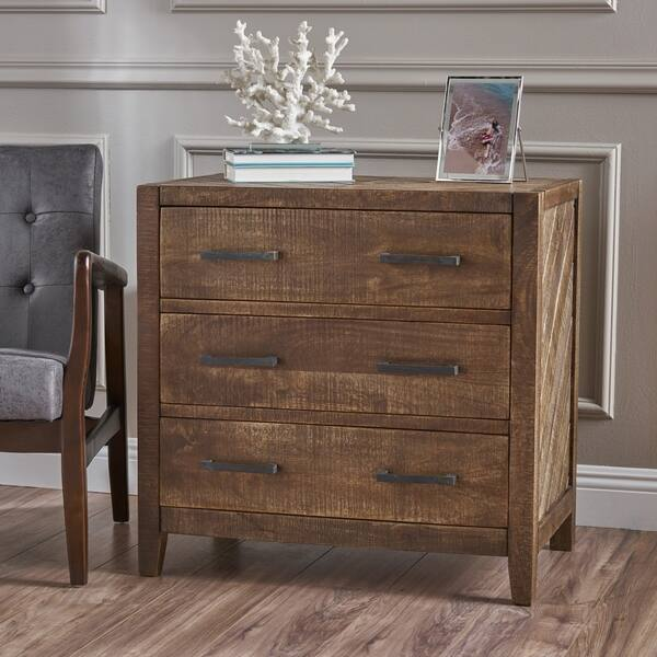 Safia Traditional Wood 3-Drawer Cabinet by Christopher Knight Home