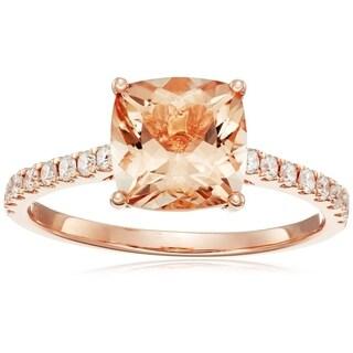 10k Rose Gold Morganite Cushion Diamond Solitaire Ring, Size 7 - Pink