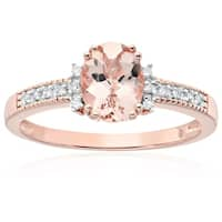 Rose Gold-plated Silver Morganite Diamond Accent Engagement Ring, Sz 7 - Pink