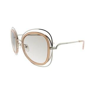 Chloe Fashion CE 123S 724 Women Gold Transparent Peach Frame Brown Lens Sunglasses