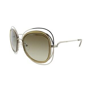 Chloe Fashion CE 123S 743 Women Gold Transparent Light Brown Frame Brown Lens Sunglasses