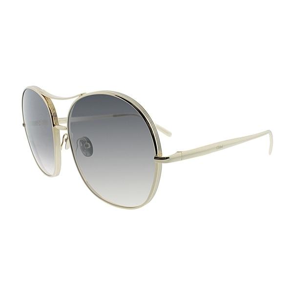 fafe37e975 Shop Chloe Aviator CE 128S 744 Women Gold Frame Grey Lens Sunglasses ...