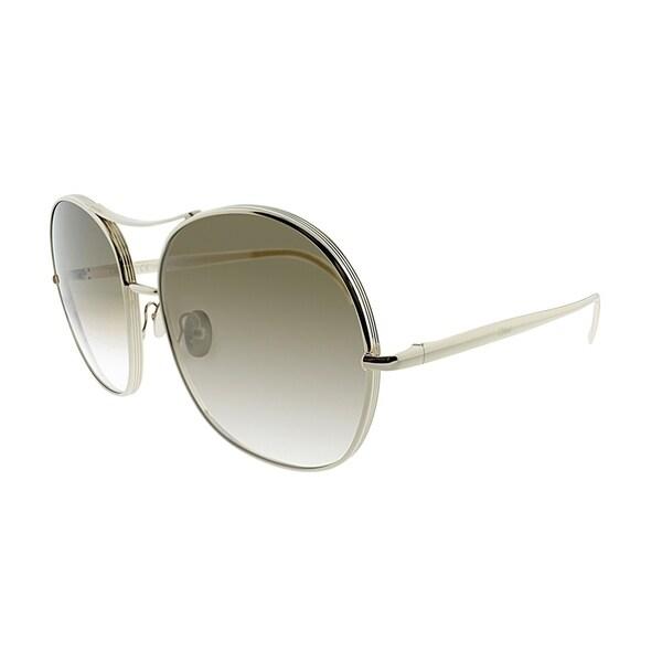 250b504bffdc Chloe Aviator CE 128S 750 Women Gold Khaki Frame Brown Lens Sunglasses