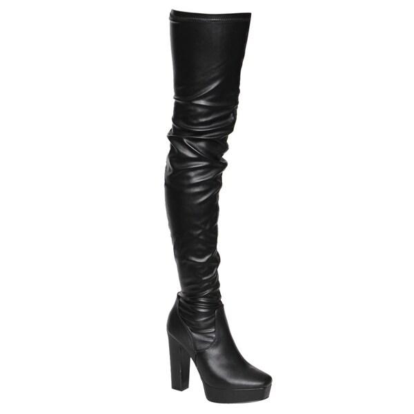 e9a5b566516c Beston EJ20 Women's Side Zipper Chunky Heel Stretchy Snug Fit Thigh  High
