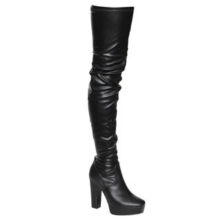 Beston EJ20 Women's Side Zipper Chunky Heel Stretchy Snug Fit Thigh High Boots