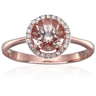 14k Rose Gold Morganite Diamond Classic Halo Engagement Ring, Size 7 - Pink
