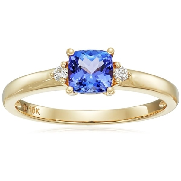 accent engagement diamond set tanzanite ring rings cushion wedding blue matching