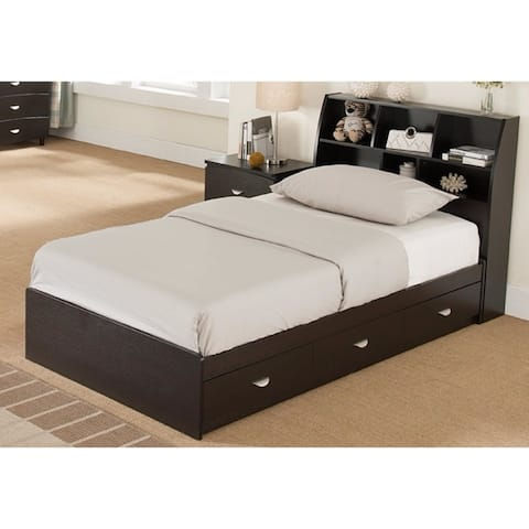 Brown Finish Twin Bookcase Headboard With Six Separate Shelves