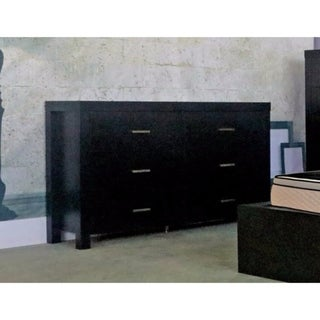 Classy Dresser With Six Storage Drawers On Metal Glides, Black Finish.