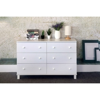 Spacious Dresser With Six Storage Drawers On Metal Glides