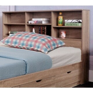 Benzara Brown Wood Full-size Bookcase Headboard with 6 Shelves