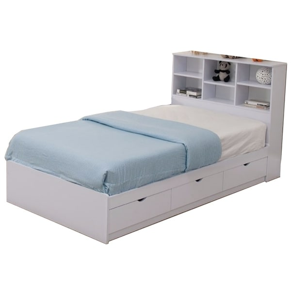 Wooden Twin Size Chest Bed with Three Drawers, White