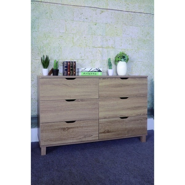 Commodious Brown Finish Dresser with 6 Drawers.