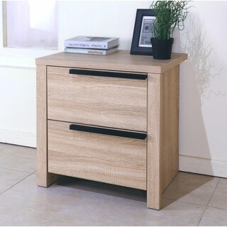 Elegant Brown Finish Nightstand With 2 Drawers On Metal Glides.