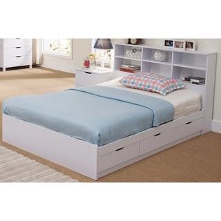 Benzara Modern White Finish Wood 3-drawer Full-size Chest Bed