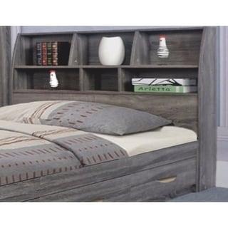 Elegant Grey Finish Full Size Bookcase Headboard With Six Shelves.