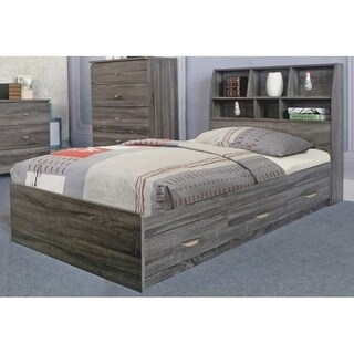 benzara grey wood twinsize chest bed with 3 drawers on metal glides