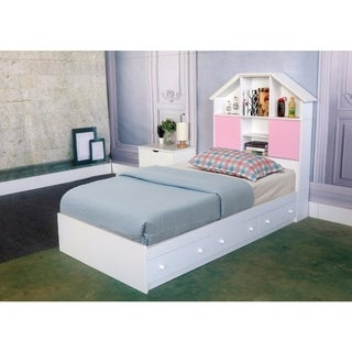 benzara white wood twinsize chest bed with 3 storage drawers