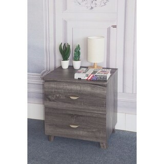 Contemporary Style Grey Finish Nightstand With 2 Drawers