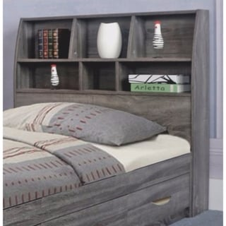 Contemporary Style Twin Size Bookcase Headboard With Six Shelves.