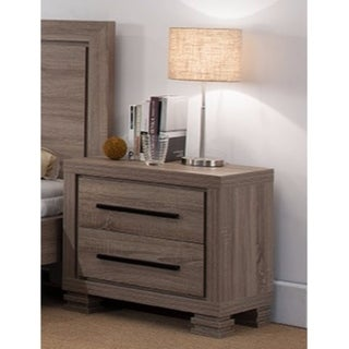 Luxurious Gray Nightstand With Two Drawers And Top Display Stand.