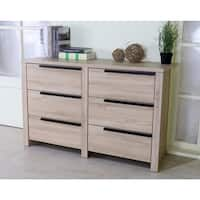 Spacious Brown Finish Dresser With 6 Drawers On Metal Glides.