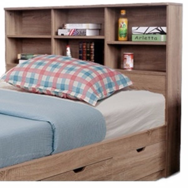 Shop Contemporary Style Twin Size Bookcase Headboard With 6 Shelves