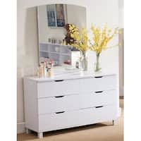 Spacious Glossy White Finish Dresser with 6 Drawers.