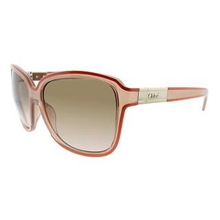 Chloe Fashion CE 623S 601 Women Transparent Orange Frame Brown Lens Sunglasses