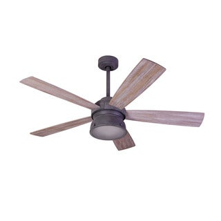 Aztec Lighting Transitional 1-light Weathered Zinc Ceiling Fan w/Halogen Light