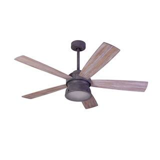 Aztec Lighting Transitional 1-light Weathered Zinc Ceiling Fan w/Halogen Light|https://ak1.ostkcdn.com/images/products/18077891/P24238760.jpg?impolicy=medium