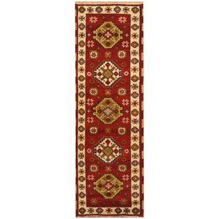 Handmade Herat Oriental Indo Hand-knotted Tribal Kazak Wool Runner (2'1 x 6'6)