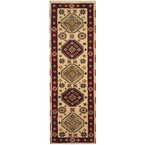 Handmade Herat Oriental Indo Hand-knotted Tribal Kazak Wool Runner (India) - 2'1 x 6'7