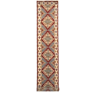 Handmade Herat Oriental Indo Hand-knotted Tribal Kazak Wool Runner (2'9 x 16'9)