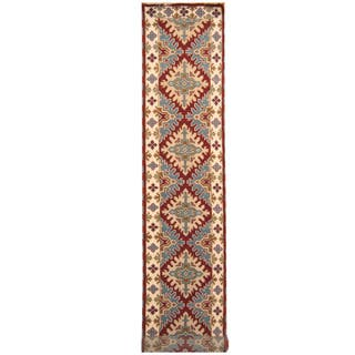 Handmade Herat Oriental Indo Hand-knotted Tribal Kazak Wool Runner (2'9 x 16'9)|https://ak1.ostkcdn.com/images/products/18077896/P24238766.jpg?impolicy=medium