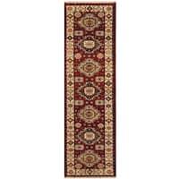 Handmade Herat Oriental Indo Hand-knotted Tribal Kazak Wool Runner (2'9 x 9'10) - 2'9 x 9'10 (India)