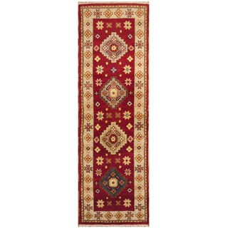 Handmade Herat Oriental Indo Hand-knotted Tribal Kazak Wool Runner (2'7 x 8'5)