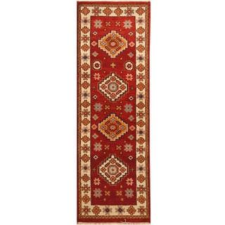 Handmade Herat Oriental Indo Hand-knotted Tribal Kazak Wool Runner (2'7 x 7'9)