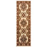 Handmade Herat Oriental Indo Hand-knotted Tribal Kazak Wool Runner (India) - 2'10 x 8'4