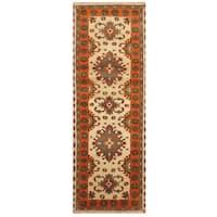 Handmade Herat Oriental Indo Hand-knotted Tribal Kazak Wool Runner (2'9 x 8'1) - 2'9 x 8'1
