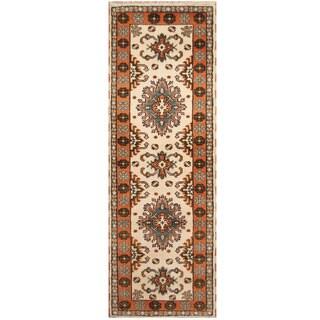 Handmade Herat Oriental Indo Hand-knotted Tribal Kazak Wool Runner (2'10 x 8'5)