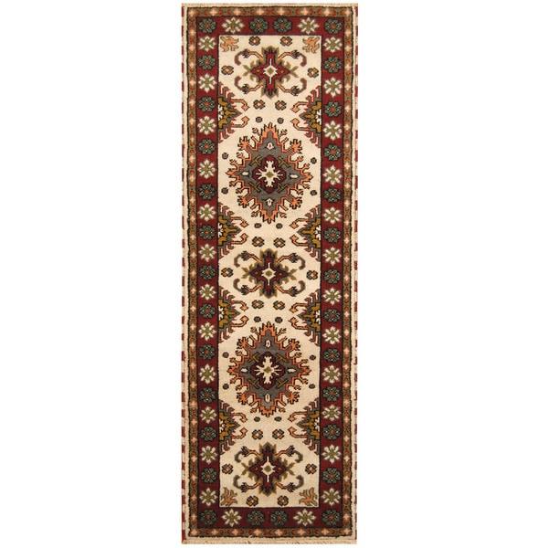 Handmade Herat Oriental Indo Hand-knotted Tribal Kazak Wool Runner (India) - 2'8 x 8'5