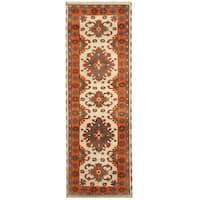 Handmade Herat Oriental Indo Hand-knotted Tribal Kazak Wool Runner (India) - 2'10 x 8'2