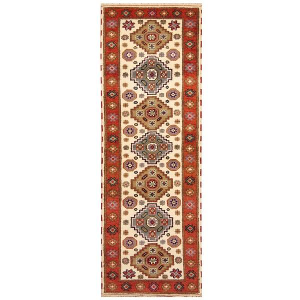 Handmade Herat Oriental Indo Hand-knotted Tribal Kazak Wool Runner (2'9 x 8'4)