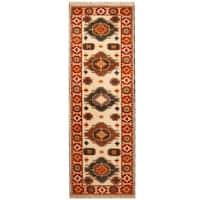 Handmade Herat Oriental Indo Hand-knotted Tribal Kazak Wool Runner (India) - 2'9 x 8'3